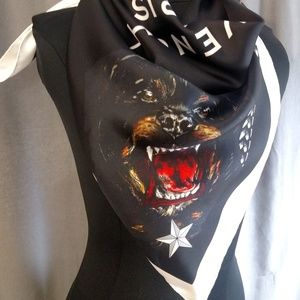 """Givenchy Accessories - Givenchy Rottweiler Silk Scarf 35""""- Pre-Owned"""
